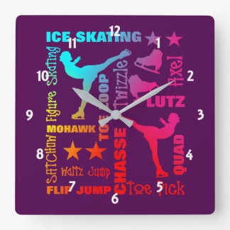 Colorful Ice Skating Theme Terminology Typography Square Wall Clock