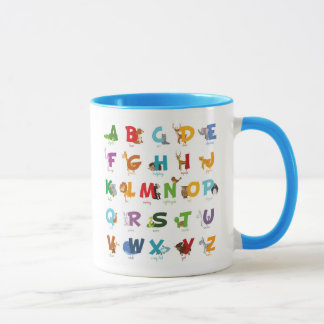 Colorful illustrated Animal Alphabet Letters Mug