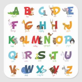 Colorful illustrated Animal Alphabet Letters Square Sticker