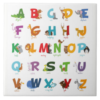 Colorful illustrated Animal Alphabet Letters Tile