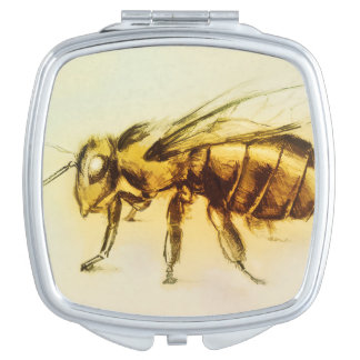Colorful illustrated compact mirror  -  Bee