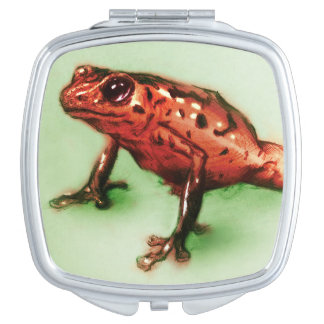 Colorful illustrated compact mirror  - Frog