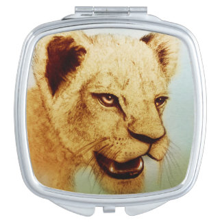 Colorful illustrated compact mirror  -  Lion