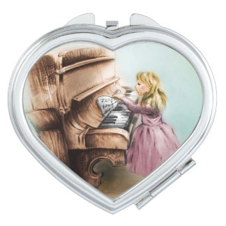 Colorful illustrated compact mirror  - Piano Girl