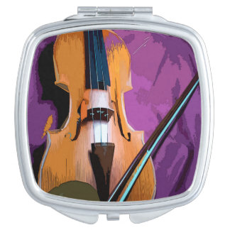 Colorful illustrated compact mirror  -  Viola