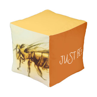 Colorful illustrated cubed pouf - Bee