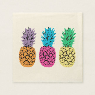 Colorful illustrated Pineapples Disposable Napkin