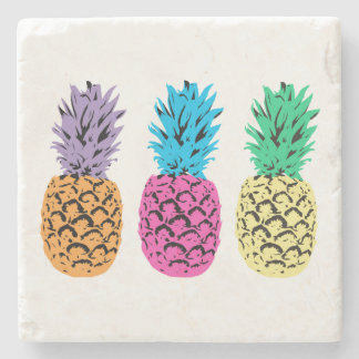 Colorful illustrated Pineapples Stone Coaster