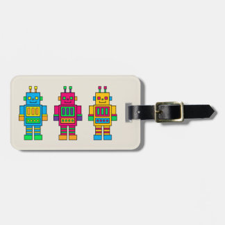 Colorful Illustrated Robots Luggage Tag