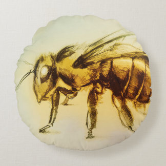 Colorful illustrated round pillow - Bee
