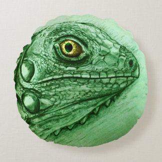 Colorful illustrated round pillow - Iguana