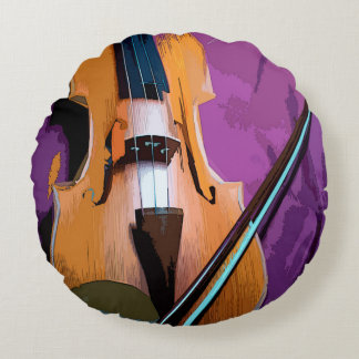 Colorful illustrated round pillow - Viola