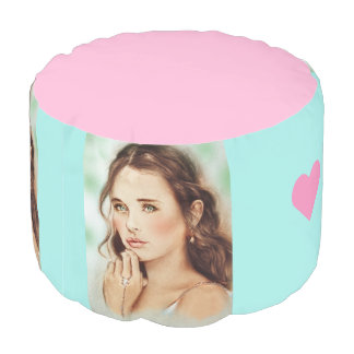 Colorful illustrated round pouf - Lady of Spring