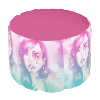 Colorful illustrated round pouf - Rainbow