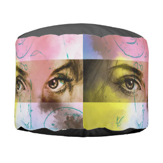 Colorful illustrated round pouf - Stare