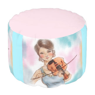 Colorful illustrated round pouf - Violin