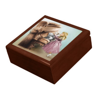 Colorful illustrated tile gift box - Piano Girl