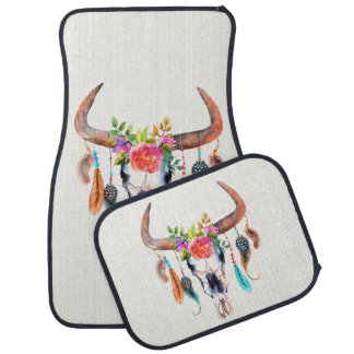 Colorful Illustration Of Bull Skull With Horns Car Mat