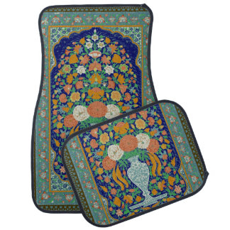 Colorful Indian Floral Rug Look Car Mat Set