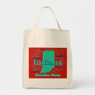 Colorful Indiana State Pride Map Pop Art Tote Bag