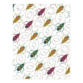 Colorful Insects Original Pattern Postcard