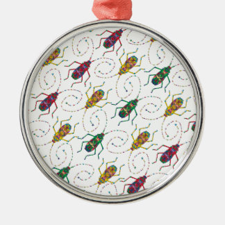 Colorful Insects Original Pattern Silver-Colored Round Decoration
