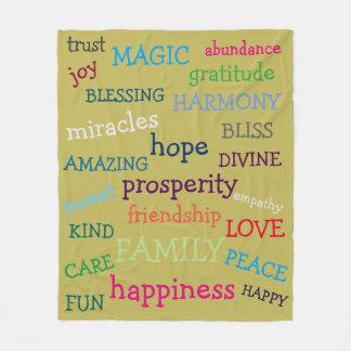 Colorful Inspirational Positive Words Design Fleece Blanket