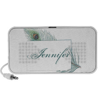 Colorful Inspirational Vintage Peacock Feather Travelling Speaker