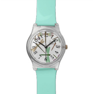Colorful Iridescent Dragonflies Mint-Green Watch