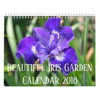 Colorful iris flowers calendar