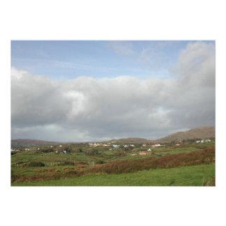 Colorful Irish Village Scene. Custom Invites