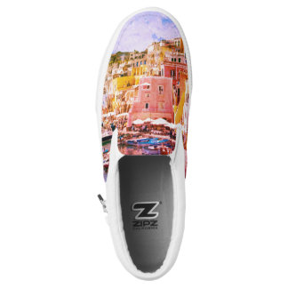 Colorful Italy Vintage Art Fishing Harbor Printed Shoes