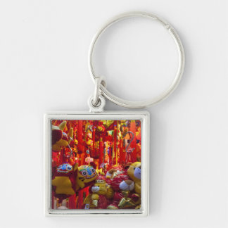 Colorful items for sale in a shop in Hong Kong Silver-Colored Square Key Ring