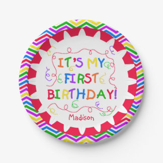 Colorful It's My First Happy Birthday Paper Plates