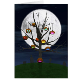 Colorful Jack-o-lantern Tree Greeting Card