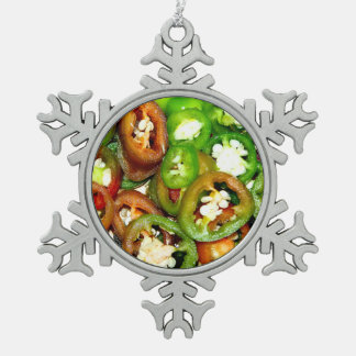 Colorful Jalapeno Pepper Slices Pewter Snowflake Decoration