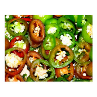 Colorful Jalapeno Pepper Slices Postcard