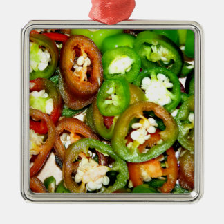 Colorful Jalapeno Pepper Slices Silver-Colored Square Decoration