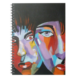Colorful Japanese faces Spiral Notebook