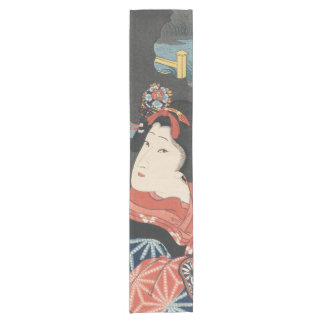 Colorful Japanese Woman Vintage Painting Short Table Runner