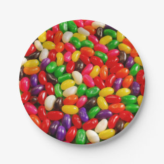 Colorful jelly bean candy paper plate