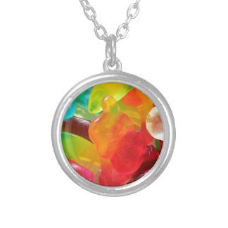 colorful jelly gum texture silver plated necklace