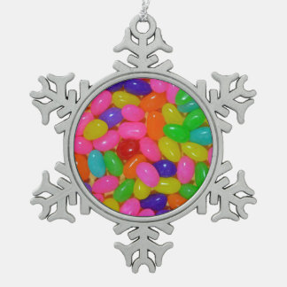 Colorful jellybean candy pewter snowflake decoration