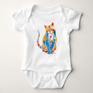 Colorful Jewel Cat Design Baby Bodysuit