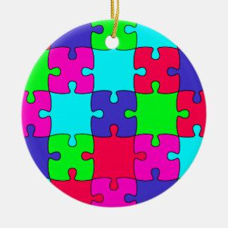 Colorful Jigsaw Puzzle Ceramic Ornament