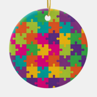 Colorful Jigsaw Puzzle Pattern Ceramic Ornament