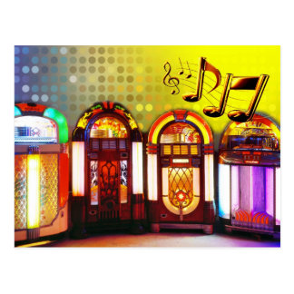 Colorful Jukeboxes Post Card