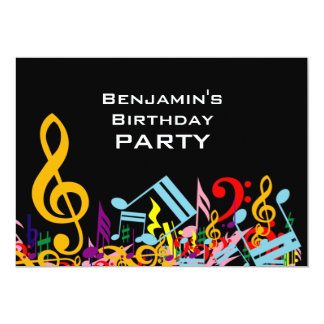 Colorful Jumbled Music Notes Birthday Party Card