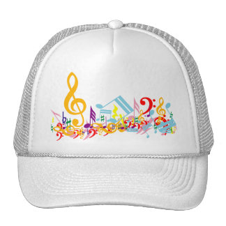 Colorful Jumbled Music Notes Trucker Hat