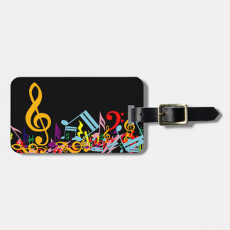 Colorful Jumbled Music Notes on Black Luggage Tag